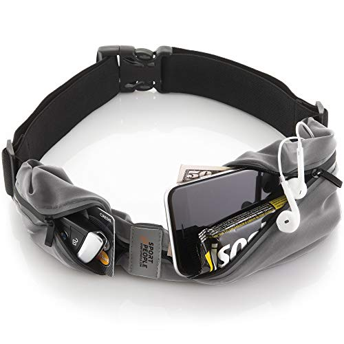 Running Belt USA Patented - Hands-Free Workout Fanny Pack - iPhone X 6 7 8 Plus Buddy Pouch for Runners - Freerunning Reflective Waist Pack Phone Holder - Fitness Gear Accessories (Gray Steel)