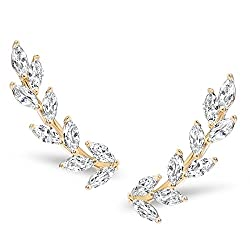 Crystal Rhodium-Plated Tiny Leaf Ear Climbers