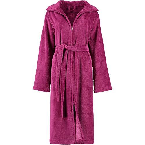 Michaelax-Fashion-Trade Lago - Damen Velours Bademantel mit 2-Wege Reißverschluss (804), Größe:36/38, Farbe:Beere (22)