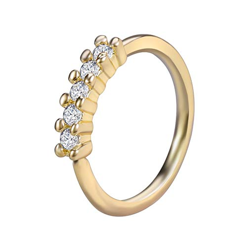 LZZR 1PC Brass Septum 20G Nose Rings Earrings Conch Rook Body Jewelry (Color : J Gold, Size : 10mm)