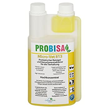 Produit Nettoyant et Éliminateur d'odeurs Bio pour Animaux, Chiens, Chats et autres Probisa Micro Vet 813 – Spray désodorisant pour intérieur avec animal, niche, litière, cage… (0,5 litre de concentré donnent 25 litres prêt à l'emploi)