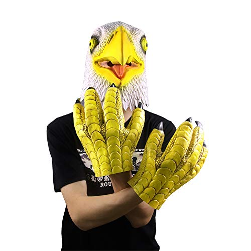Waylike Realistic Latex Eagle Mask with Talons Animal Mask for Halloween Costume