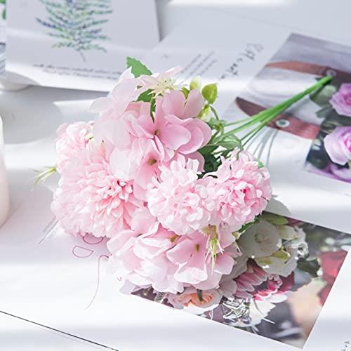 Hortensia Flores Artificiales Peonía de Seda Ramo de Novia Plantas Falsas Centros de Mesa de Boda Jarrones de Escenario para ladecoración de laMesa del hogar