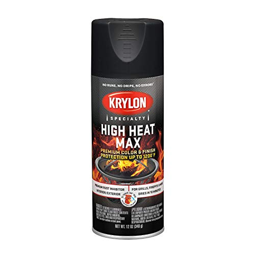Krylon K01607000 High Heat Max, Black, Gloss, 12 ounce