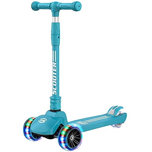 WHOJS Patinete Scooter para niños de 3 Ruedas con Rueda Intermitente Plegable Ajuste de Altura Apto para Mayores de 3 años. Niño y niña Construcción Ligera(Color:Verde)