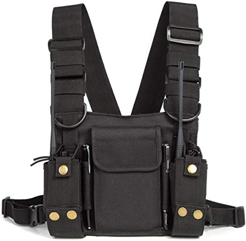 Universal Nylonholster schulterholster Funkgerät tasche, Nylon Multifunktions Funkgerät Rucksack Tasche, Two Way Radio Tragetasche Zubehörhalter(schwarz)