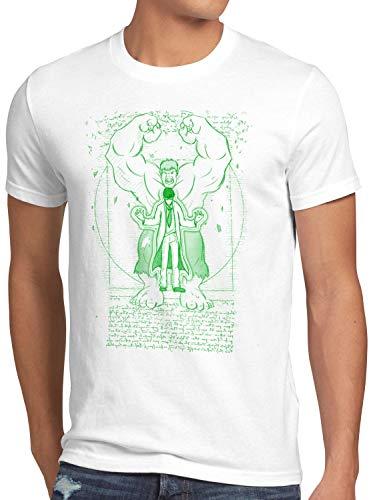 style3 Vitruvianischer Hulk Herren T-Shirt Comic Kino da Vinci, Farbe:Weiß, Größe:5XL