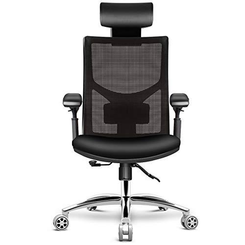 HomeGoGo Schreibtischstuhl, Bürostuhl Ergonomischer Stuhl für Zuhause, Verstellbarer Gaming Stuhl mit Kopfstütze, Armlehne und Lenkrolle für Männer und Frauen, PC Stuhl bis 150kg Belastbar(LJ-301A)
