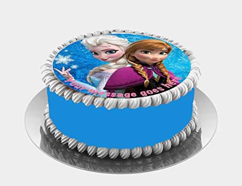 Frozen Princesas Elsa & Anna - Decoración comestible para tarta (19 cm), diseño de fondant
