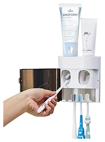 porta cepillo de dientes Soporte de cepillo de dientes montado en pared:...