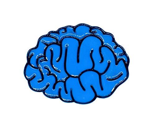 Miniblings Gehirn Brosche Anstecknadel Hirn blau Anatomie Mensch Kopf Denken IQ Comic Pin