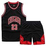 GAOZI Kinder Junge Basketball Trikot Bulls 23# Jordan Retro Basketball Shorts Sommer Trikots...