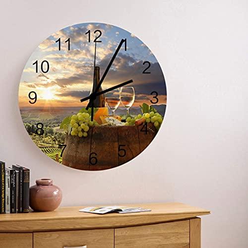 Reloj de pared de madera redondo de 10 pulgadas Vino blanco con botellas de uvas y barril de vino Reloj de pared redondo silencioso sin tictac Reloj de pared con números romanos Reloj de manos Sala de