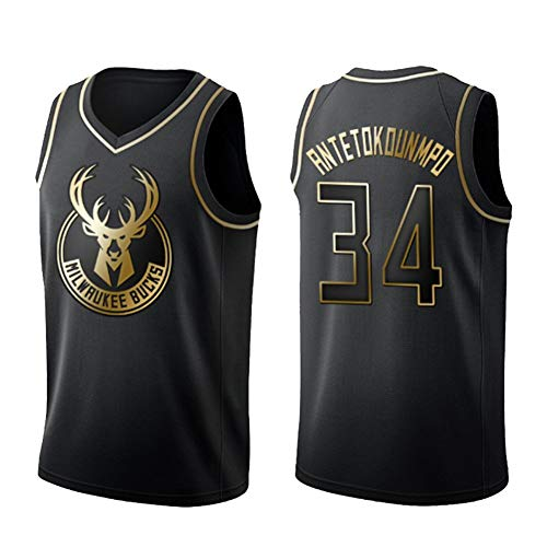 DXG NBA Bucks #34 Giannis Antetokounmpo Abbigliamento Sportivo, Maglia da Basket Unisex Senza Maniche Ricamata T-Shirt Canotta Durevole Traspirante,Nero,XL