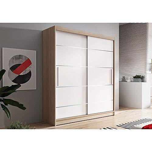 Kleiderschrank Schwebetürenschrank 2-türig Schrank mit vielen Einlegeböden und Kleiderstange Gaderobe Schiebtüren BxHxT 150x200x61 - Lara 6 (Sonoma + Weiß)