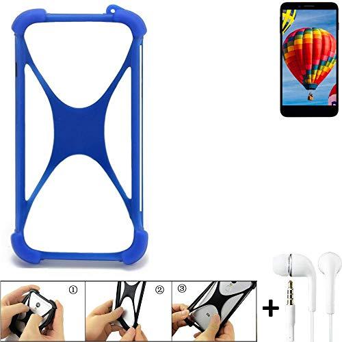 K-S-Trade® Handyhülle Für Vestel V3 5030 Bumper Schutzhülle Silikon Schutz Hülle Cover Case Silikoncase Silikonbumper TPU Softcase Smartphone, Blau (1x), Headphones