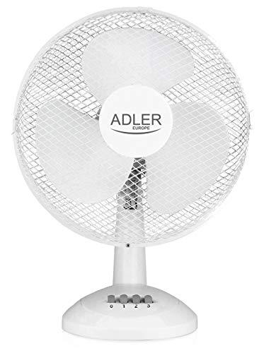 Adler AD 7303 Tischventilator Tragbarer, Klingen Durchmesser 30cm, 3 Geschwindigkeitsstufen, Oszillierend, Ventilator, Klein, Weiß, 70W