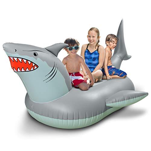 GoFloats 'Great White Bite' - Balsa Inflable para Fiestas de tiburón | Divertidos flotadores de Piscina para Adultos y niños, Raft Gigante, Gris