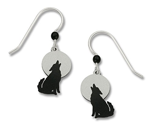 Wolf Howling Against a Gray Moon Earrings Made in the USA by Sienna Sky 1457