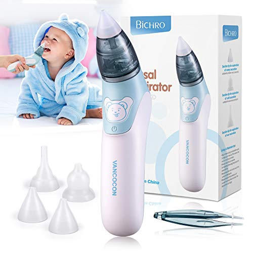 Baby Nasensauger, Bichiro® Elektrischer Nasenreiniger & Ohrenschmalz-Entferner mit 3 Größen wiederverwendbarem Rotzsauger für Neugeborene, Kleinkinder und Säuglinge