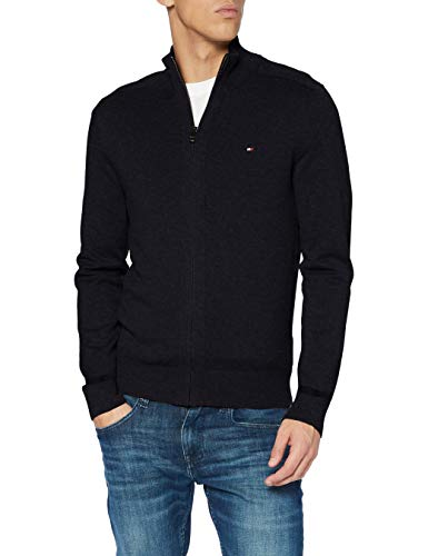 Tommy Hilfiger Herren Pima Cotton Cashmere Zip Through Pullover, Black Heather, M
