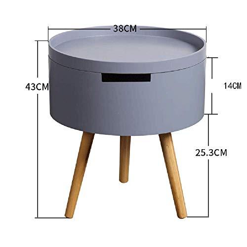 Carl Artbay Home&Selected hout/salontafel bijzettafel meubel rond opslag dienblad hout wit/grijs 38 * 38 * 43cm (kleur: grijs)