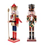 F Fityle 2pcs 30cm Viva Figura de Soldado Madera Cascanueces Adornos Artesanía Decorativa Cascanueces para Navidad