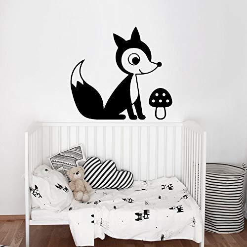 Quszpm Lindo Zorro niña niño Dormitorio Pegatina calcomanía Vinilo decoración Animal 65 cm x 56 cm