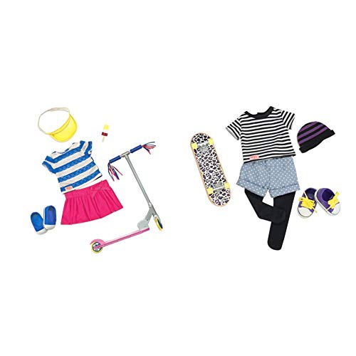 Our Generation 18-inch Cute to Scoot Deluxe Doll Outfit & That's How I Roll- Skater Outfit for 18' dolls