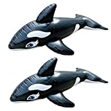 FALPELUCA Inflatable Killer Whales Pool Float Floats Ride On with Fast Valves Large Rideable Blow Up Summer Beach Swimming Pool Party Lounge Raft Decorations Toys Kids Adults (Two Pieces)