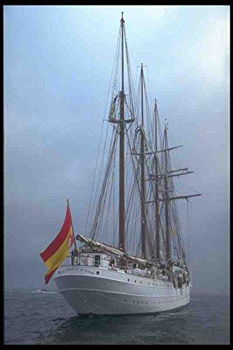 Metal Sign alto Sail barcos De barco 257071 Juan Sebastian De cuatro Elcano mástiles goleta De la bandera De España A4 12 x 8 aluminio