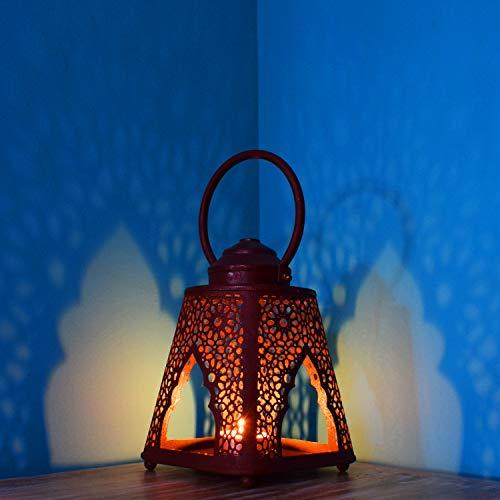 Petite Lanterne marocaine en métal Altair rouille | Photophore marocain pour l'extérieur au jardin ou l'intérieur sur la table | Lanternes pour bougie | décoration de maison orientale