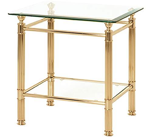 Haku Möbel Beistelltisch eckig - Stahlrohr vergoldet - 2 Ablagen Höhe 53 cm