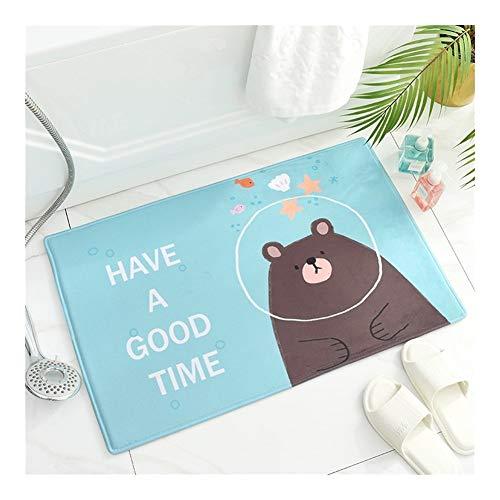 Unbekannt rutschfeste Cartoon-Fußmatten aus Flanell für Zuhause, Badezimmer, Tür, saugfähig, für Zuhause, hellblau, 40 x 60 cm