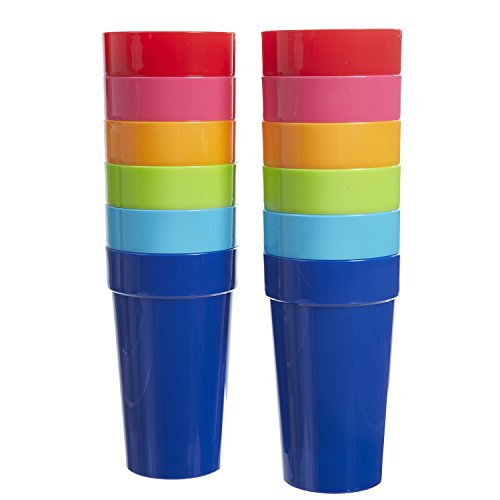 US Acrylic Spectrum 20-Ounce Plastic Tumblers | Set of 12 in 6 Assorted Colors