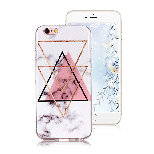TVVT Funda para iPhone 6 Plus/iPhone 6S Plus, Retro de Color Mármol Diseño Suave Silicone TPU Caso Ultrafina Protectora Anti-Rasguños Anti-Choque y Protectiva Case Cover - Polvo Triángulo Invertido