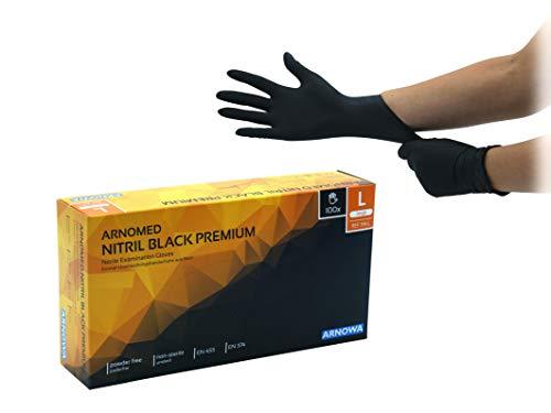Nitril-Handschuhe schwarz, puderfreie Einmal-Handschuhe, Größe L, Einweg-Handschuhe von ARNOMED, ungepuderte Untersuchungs-Handschuhe, EN...