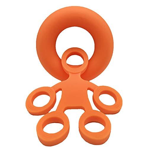 Pointsee - Correa para equipo de yoga, estiramiento de mano, fortalecedor de los dedos, anillos de ejercicio, extensor de resistencia, alivio del estrés, color naranja, Mujer, 1474491-Pointsee, naranja