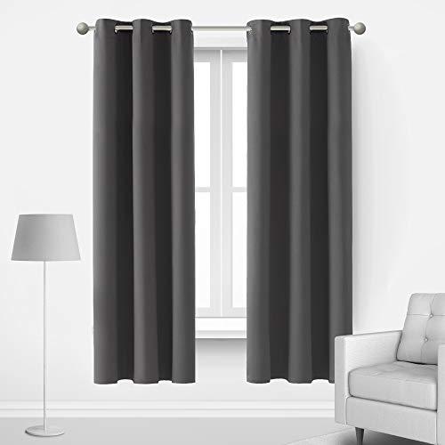 Deconovo Blickdicht Gardinen mit Ösen für Schlafzimmer Thermogardinen Vorhang Blickdicht 183x107 cm Dunkelgrau 2er Set