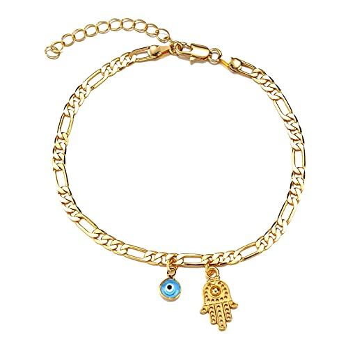 Tobillera de color dorado con cadena de eslabones cubanos con encanto de mal de ojo con pulsera de tobillo de extensión para mujeres y hombres