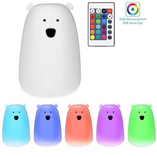 Navaris LED Nachtlicht Bär Design - Fernbedienung Micro USB Kabel - Süße RGB Farbwechsel Kinder Nachttischlampe - Eisbär Schlummerlicht Weiß
