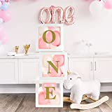 First Birthday Balloon 'ONE' Boxes for Baby Girls with 18 Balloons-1st Birthday Clear Balloon Blocks Decorations with ONE Letter for Baby Shower, Photo Shot Prop