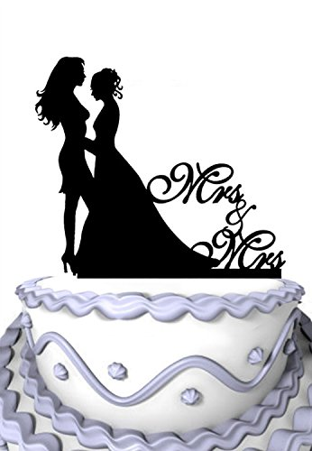 Meijiafei Lesbian Wedding Bride and Bride Silhouette with Script Mrs and Mrs Wedding Cake Topper