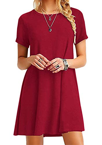 OMZIN Damen Kurzarm Kleid Sommerkleid Einfärbig Mini Tunikakleid Shirtkleid Basic Blusenkleid Rot L