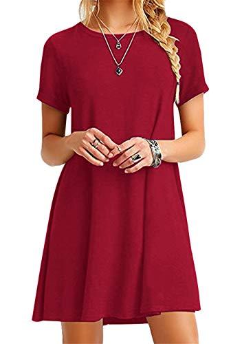 OMZIN Kleid Damen Sommerkleid Tunika Freizeitkleid Atmungsaktives Rundhals Kurzarm Knielang T-Shirtkleid Rot M