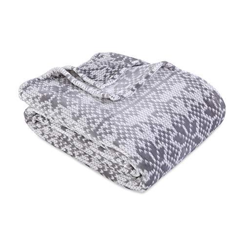 Berkshire Blanket VelvetLoft Knit Print Ultra Soft Luxury Plush Blanket, Light Grey Fairisle, Full/Queen