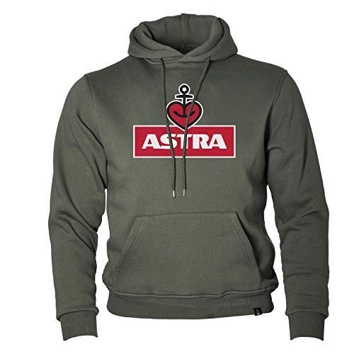 ASTRA Hoodie Unisex, Oliv, bequemer Pullover mit Kapuze, Cooler Kapuzen-Pulli mit Aufdruck, für Damen & Herren, Sweater aus St.Pauli (S)