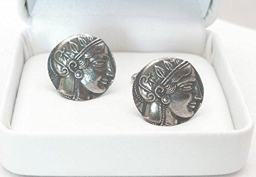 Boutons de Manchette Ancienne Pièce de Monnaie Grecque (Corinthia) avec Boîte à Cadeau