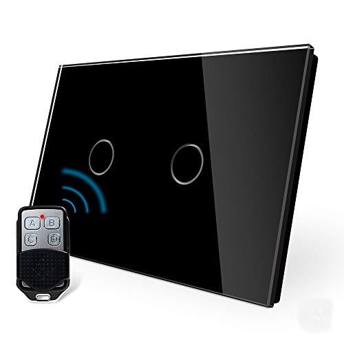 LIVOLO Wireless Remoto Interruttore della Luce con Indicatore LED Touch Switch con Pannello in Cristallo Toccare Interruttore a parete per Illuminazione Domestica,C902R-12