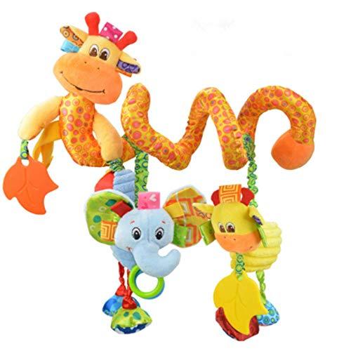 CULASIGN Activity-Spirale Tier/Stoff-Spirale zum Greifen und Fühlen für Bett, Kinderwagen...
